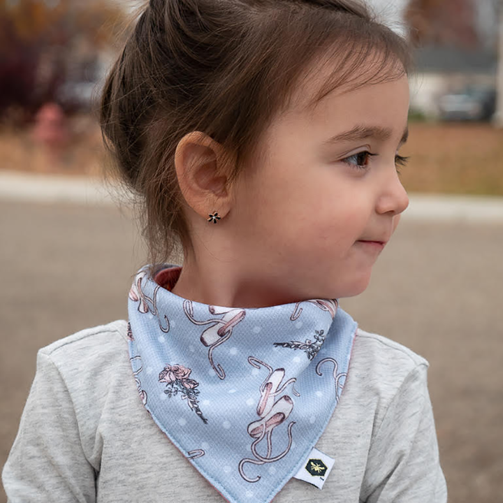bumblito - bandana bib - 100% cotton children's bib - Ballet Slippers print - made in the United States