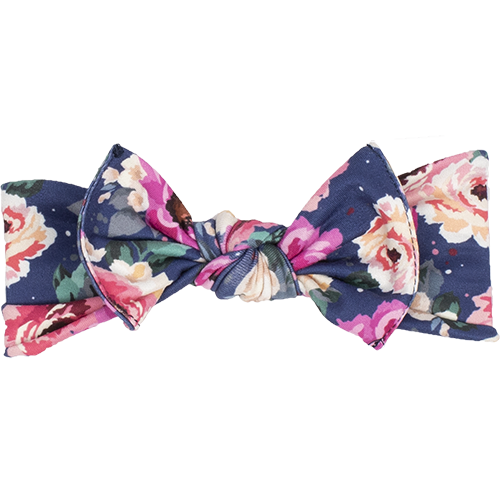 bumblito - children's headband - stretchy children's bow headband - Petit Bouquet print headband - elegant floral headband print
