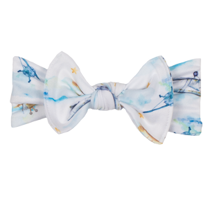 bumblito - children's headband - stretchy children's bow headband - First Flight print headband - Vintage airplane headband and bowprint