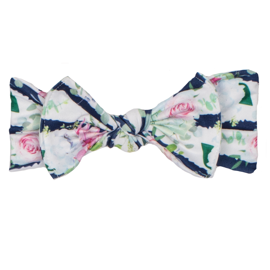 bumblito - children's headband - stretchy children's bow headband - Belle Blossoms print headband - Elegant floral stripe headband print