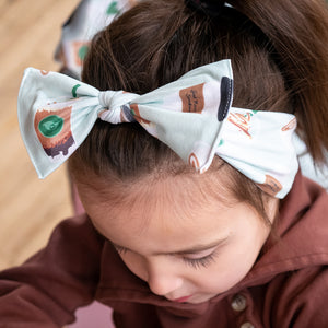bumblito - Children's Headband - Daily Grind - stretchy children's headband bow - green coffee print