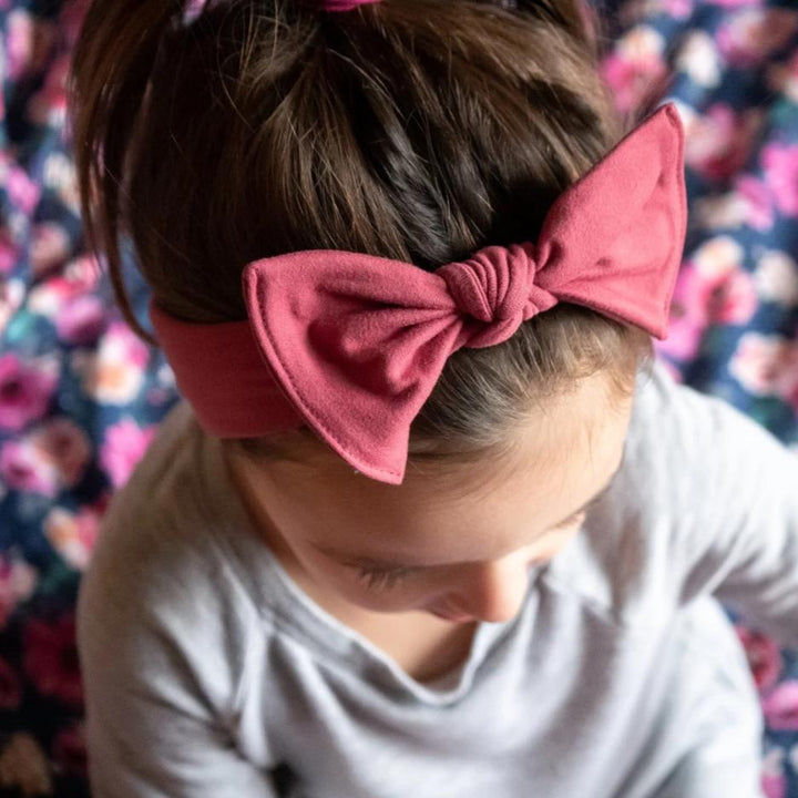 bumblito - children's headband - Dusty Rose - children's stretchy bow headband