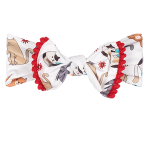 bumblito - children's headband - stretchy children's bow headband - Felix print headband - cute cats playing headband print