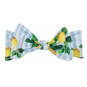 bumblito - children's headband - stretchy children's bow headband - Lemon Drops print headband - blue and white stripe with lemon bunches headband print