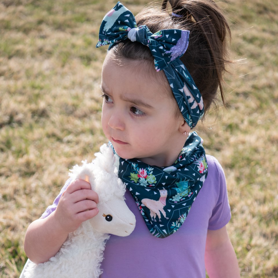 bumblito - children's headband - stretchy children's bow headband -Tina print headband - Llama and succulent print headband print