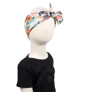 bumblito - children's headband - stretchy children's bow headband - Ginny floral print headband - Orange poppy floral headband print