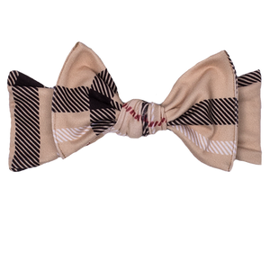 bumblito - children's headband - stretchy children's bow headband - Uptown print headband - classy black and tan plaid print headband print - mommy and me matching headband