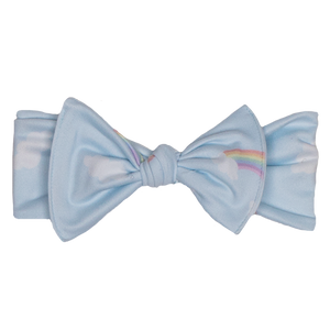bumblito - children's headband - stretchy children's bow headband - Worth the Wait print headband - Cute light blue and rainbows headband print - cute mommy and me matching headband