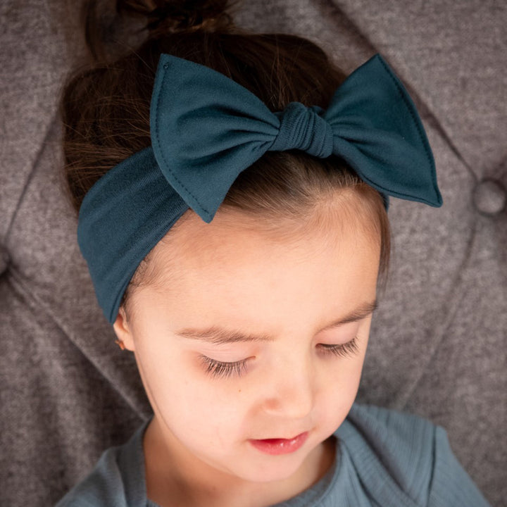 bumblito - children's headband - Forest Green - soft and stretchy children's bow headband