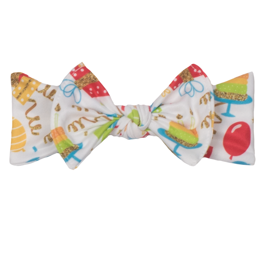 bumblito - children's headband - stretchy children's bow headband - Birthday Party balloons and streamers print headband