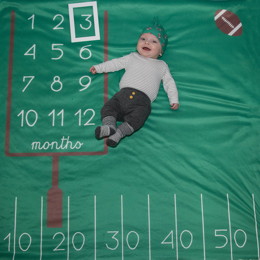 bumblito - memory swaddle - Game Time print - green football field print memory swaddle for baby pictures