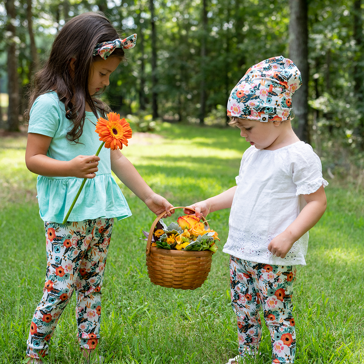 bumblito - leggings - Ginny print - Toddler leggings - Orange poppy floral print baby leggings - soft and stretchy baby leggings