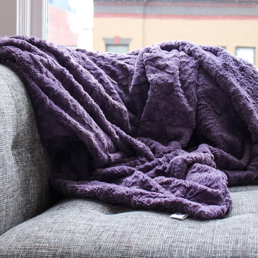 bumblito - Everyday Plush Blanket - Grape Mist purple color - luxury blanket - large two person soft blanket