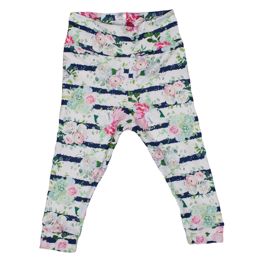 bumblito - leggings - Belle Blossoms print - Toddler leggings - adorable floral stripe print baby leggings - soft and stretchy baby leggings