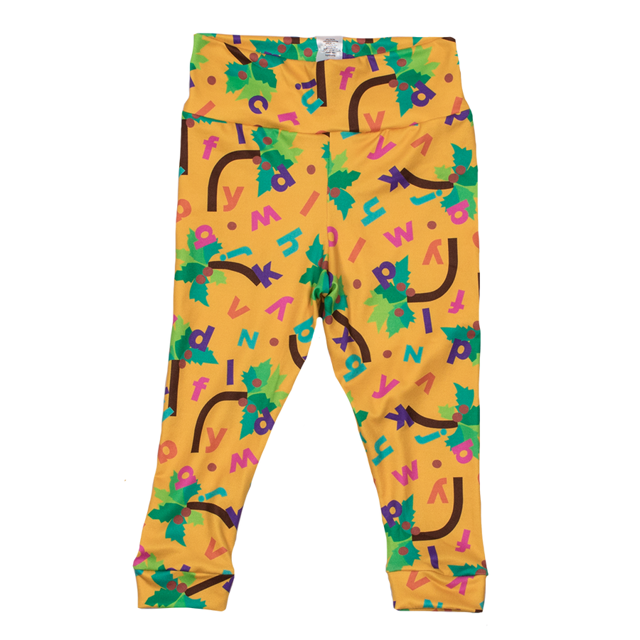 Bumblito - toddler leggings - Chicka Chicka Boom Boom - yellow leggings with alphabet letters