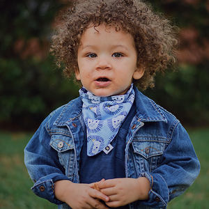 bumblito - bandana bib - 100% cotton children's bib - Leo print -  Lion bib print - blue plaid bib - made in the United States