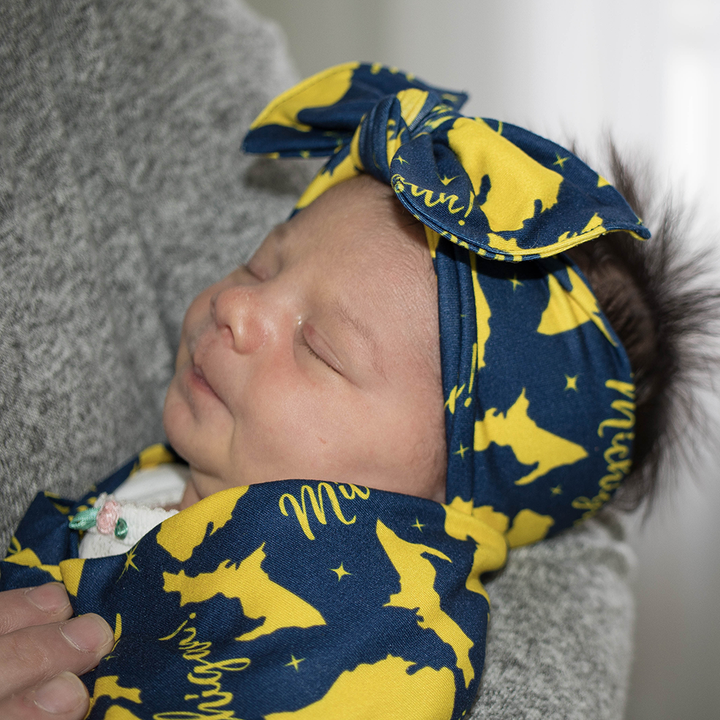 bumblito - Children's headband - Michigan blue and gold headband print - stretchy soft headband - matching bow headband