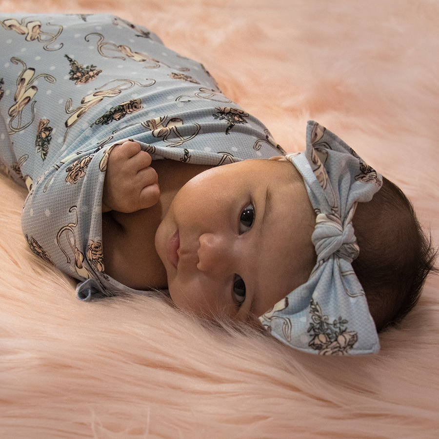 bumblito - stretch swaddle set - Ballet Slippers - ballerina print - newborn swaddle