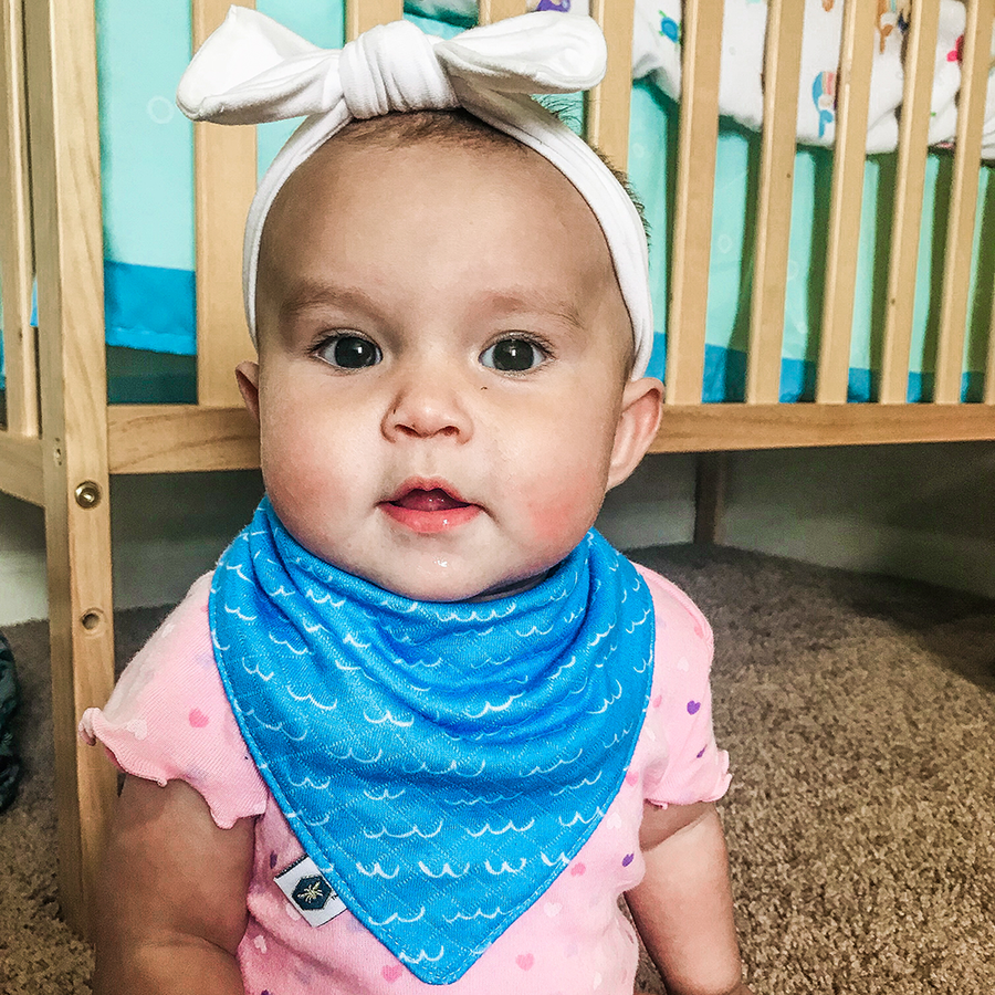 bumblito - bandana bib - 100% cotton children's bib - Splash print - Whales and fish in water bib - made in the United States