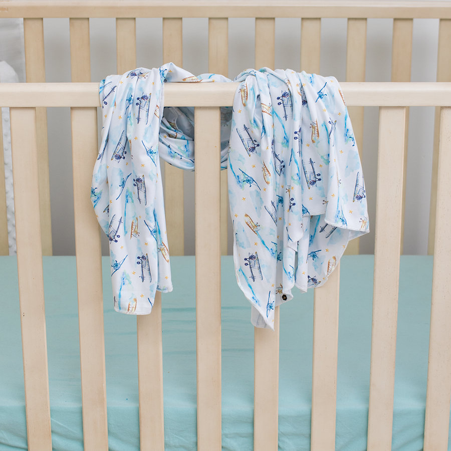 bumblito - stretch swaddle set - First Flight print - Vintage airplane print newborn swaddle - stretchy newborn swaddle