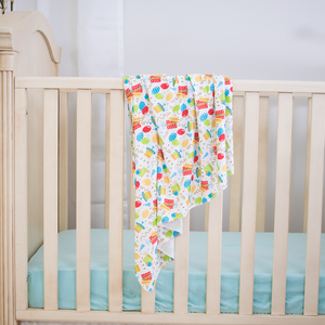bumblito - stretch swaddle set - Birthday Party balloons and streamers print - newborn swaddle - stretchy newborn swaddle
