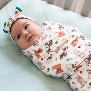 bumblito - stretch swaddle set - Fido print - cute dog print newborn swaddle
