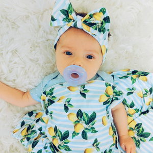 bumblito - stretch swaddle set - Lemon Drops print - lemons and green leaves print newborn swaddle - newborn swaddle
