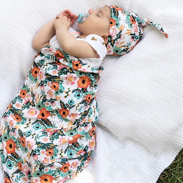 bumblito - stretch swaddle set - Ginny print - Orange poppy floral print newborn swaddle - stretchy newborn swaddle