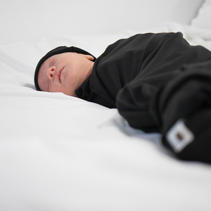 bumblito - stretch swaddle set - Basic Black print - Solid black color newborn swaddle - stretchy newborn swaddle