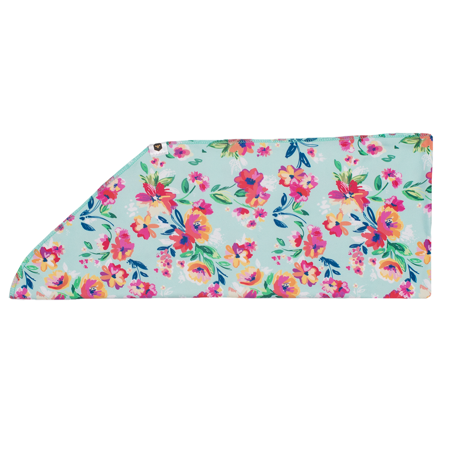 Tie-On Headband - Aqua Floral