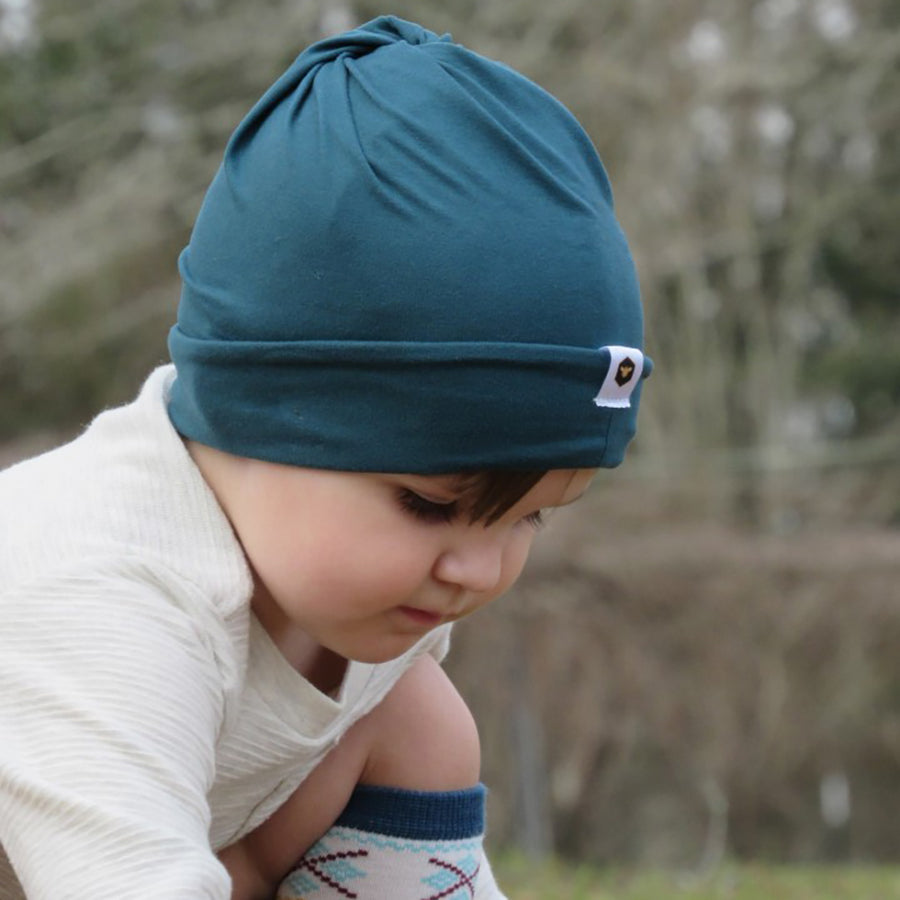bumblito - slouch beanie - Forest Green - toddler and adult lightweight green slouch beanie