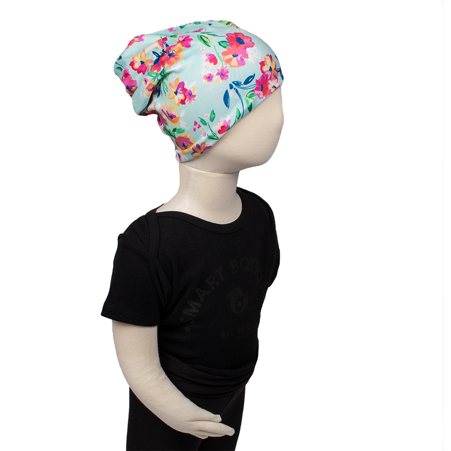 bumblito - Toddler slouch beanie - aqua floral - stretchy children's slouch beanie
