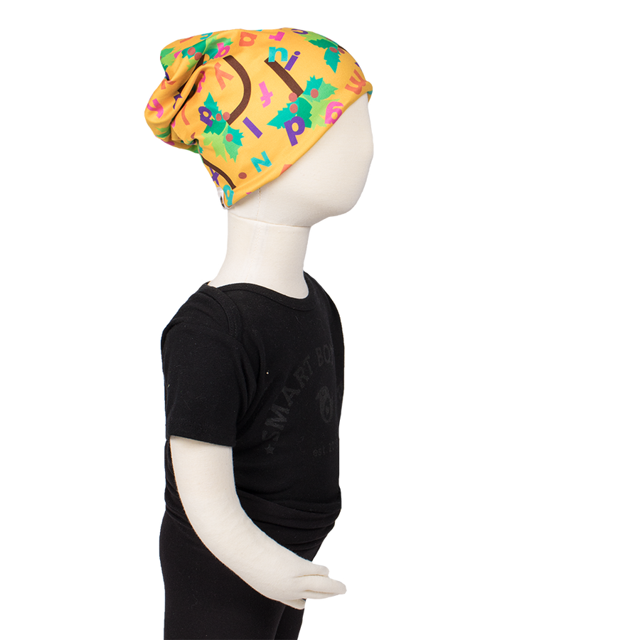 Bumblito - Slouch beanie - Chicka Chicka Boom Boom - yellow beanie with alphabet letters