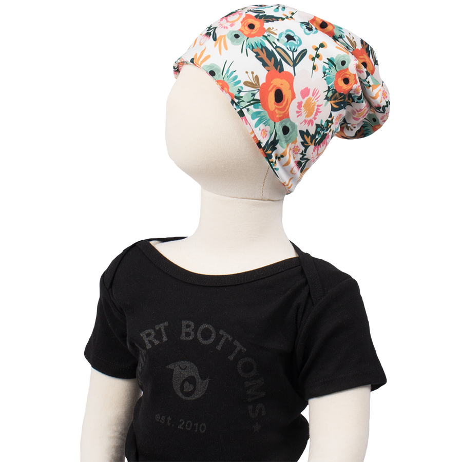 bumblito - beanie - Ginny poppy floral print beanie - multi use Toddler size beanie - soft and stretchy beanie headband - open top beanie - cute print beanie