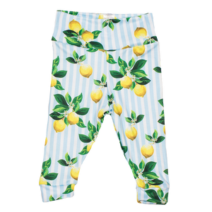 bumblito - leggings - Lemon Drops print - Toddler leggings - adorable blue and white stripe with lemon bunches print baby leggings - soft and stretchy baby leggings
