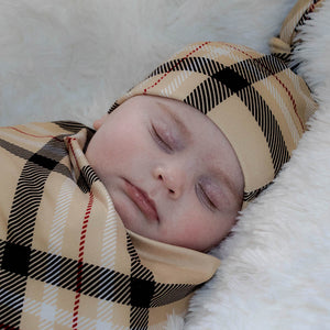 bumblito - stretch swaddle set - Uptown print - classy black and tan plaid print newborn swaddle - stretchy newborn swaddle