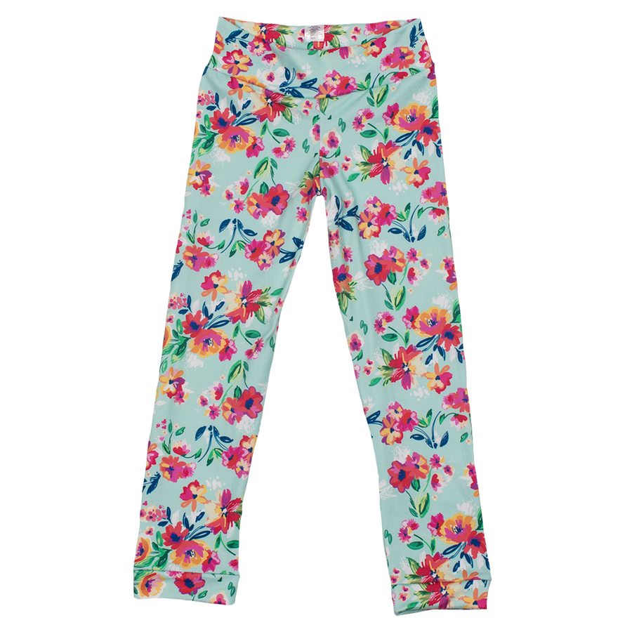 Leggings  - Aqua Floral