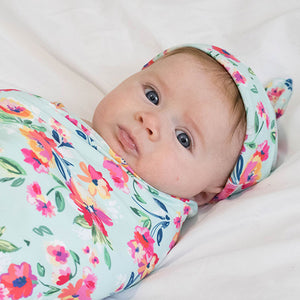 Stretch Swaddle Set - Aqua Floral