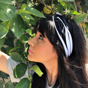 bumblito - adult headband - trendy headband -  Manhattan print - black and white stripe - Monochrome