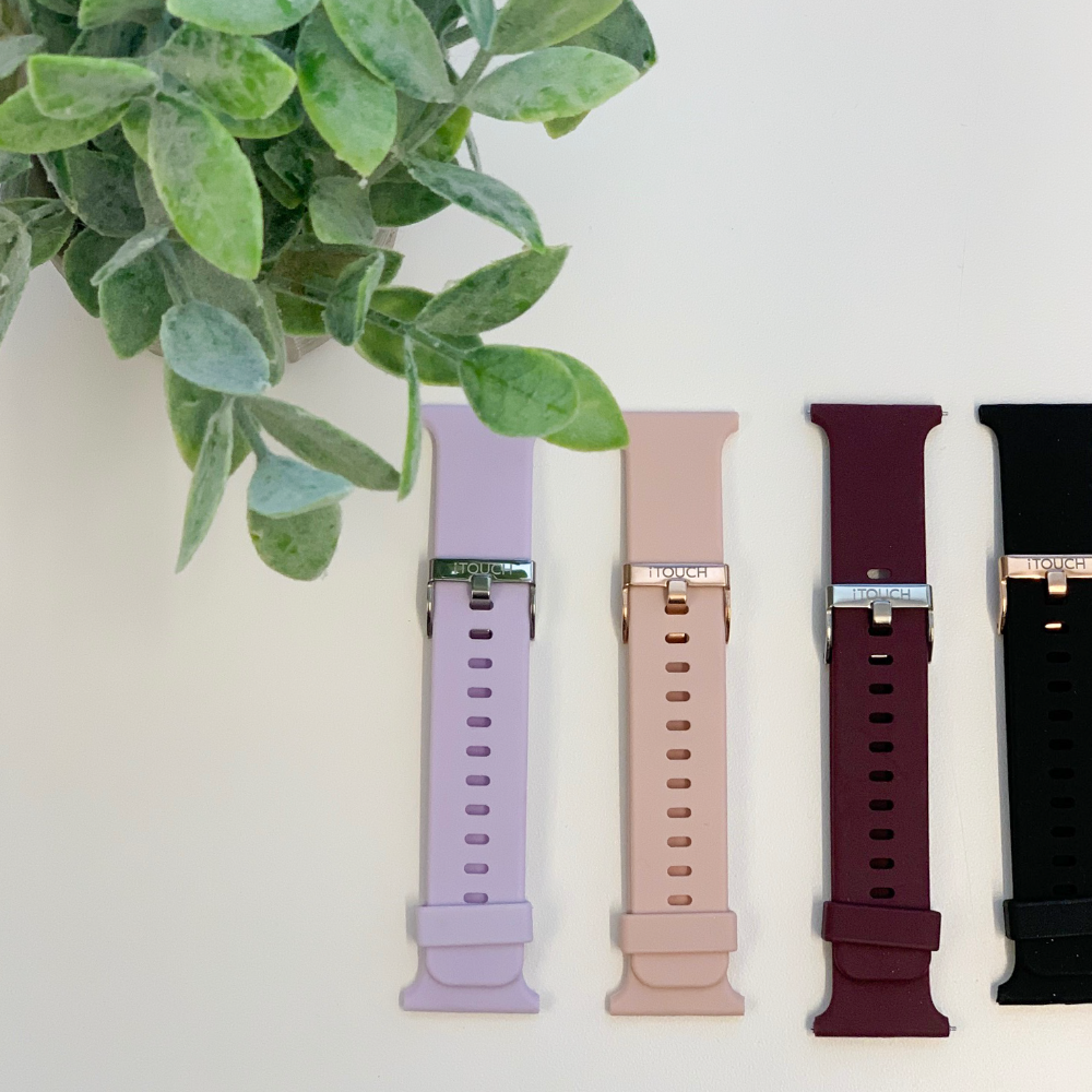 iTouch Air & Pulse Smartwatch Strap with Buckle: Black with Rose Gold Buckle