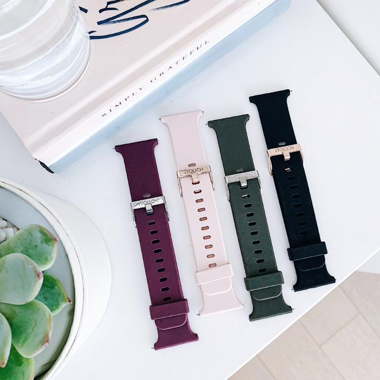 iTouch Air 2 Smartwatch Strap: Black with Rose Gold Buckle