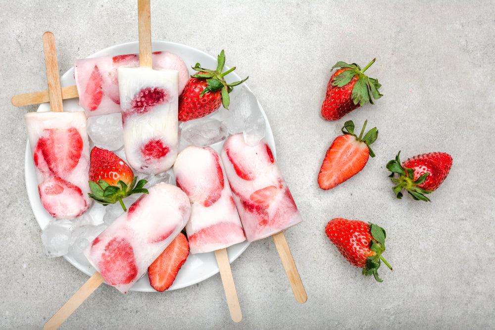 sweet & simple fruit dessert recipes - strawberries & cream popsicles