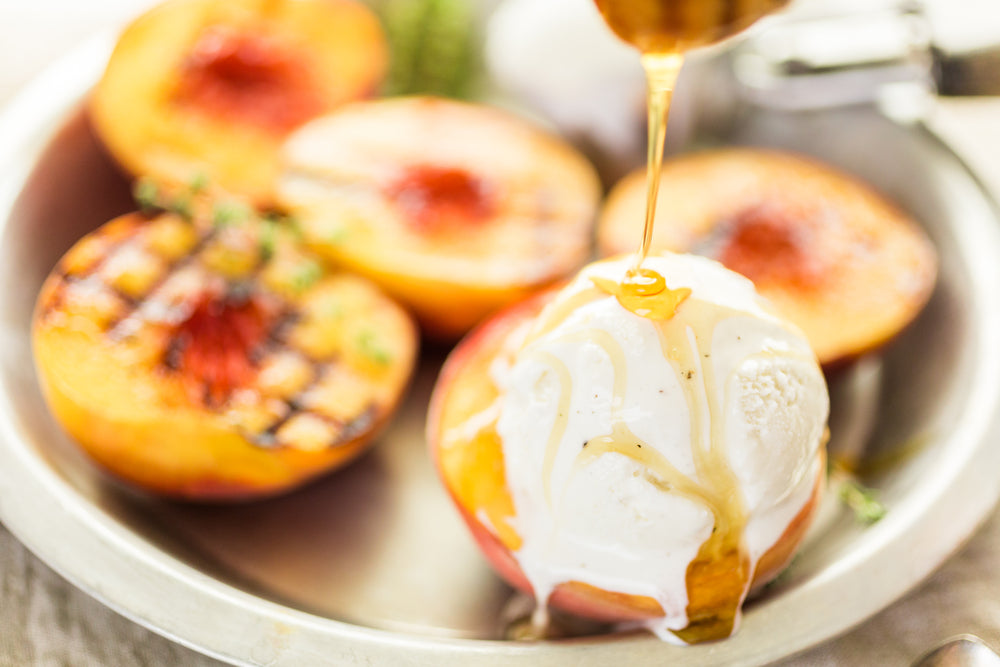Sweet & Simple Fruit Dessert Recipes - grilled peaches with ice cream