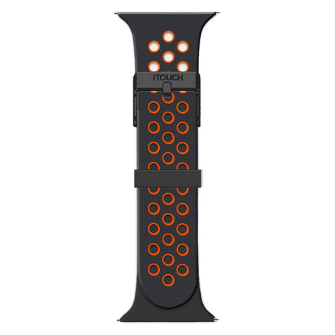 iTouch Sport Perforated Silicone Strap: Black/Orange