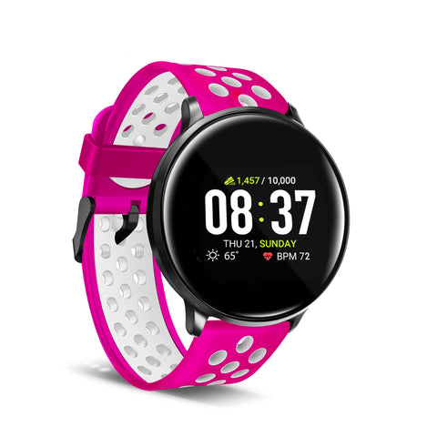 iTouch Sport Smartwatch: Black Case With Fuchsia/White Perforated Strap