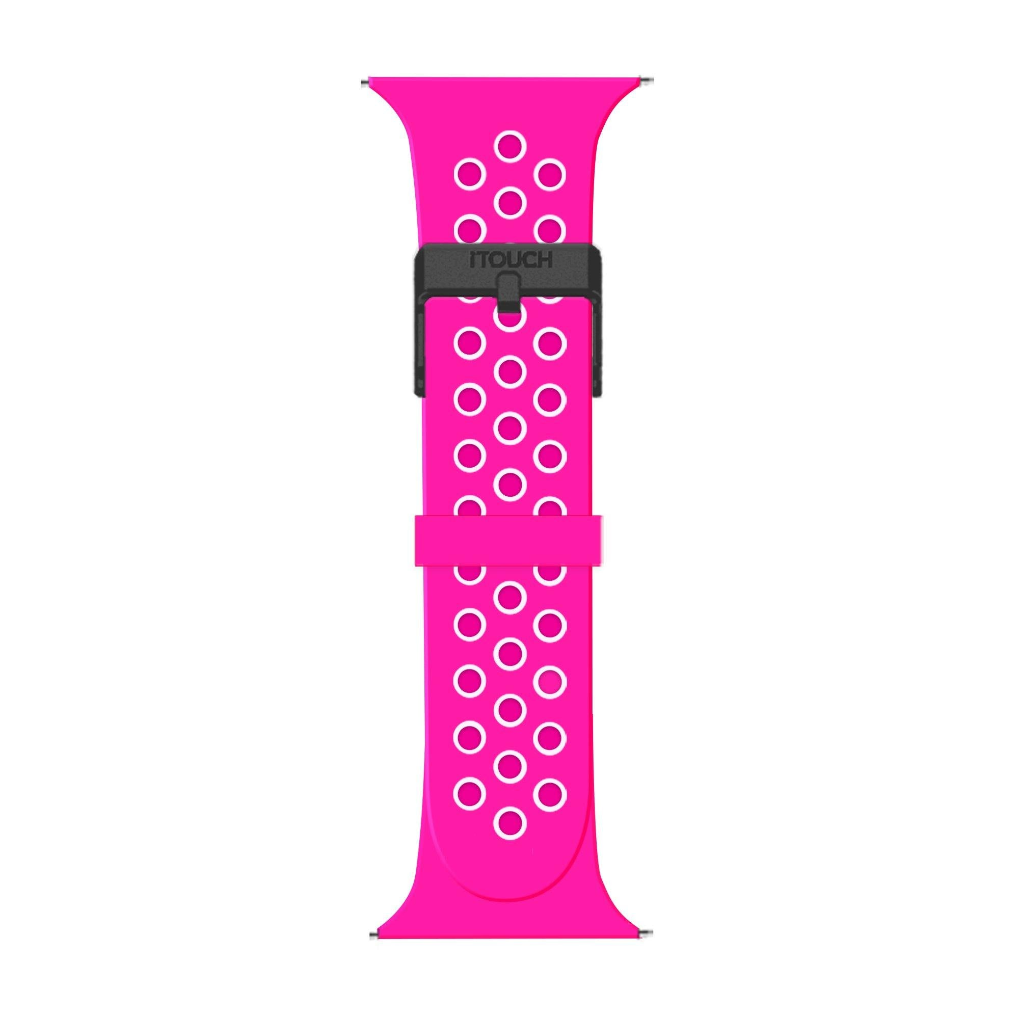 iTouch Sport Perforated Silicone Strap: Fuchsia/White