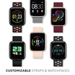 iTouch Air 3 Smartwatch: Black Case with Black/Red Perforated Strap