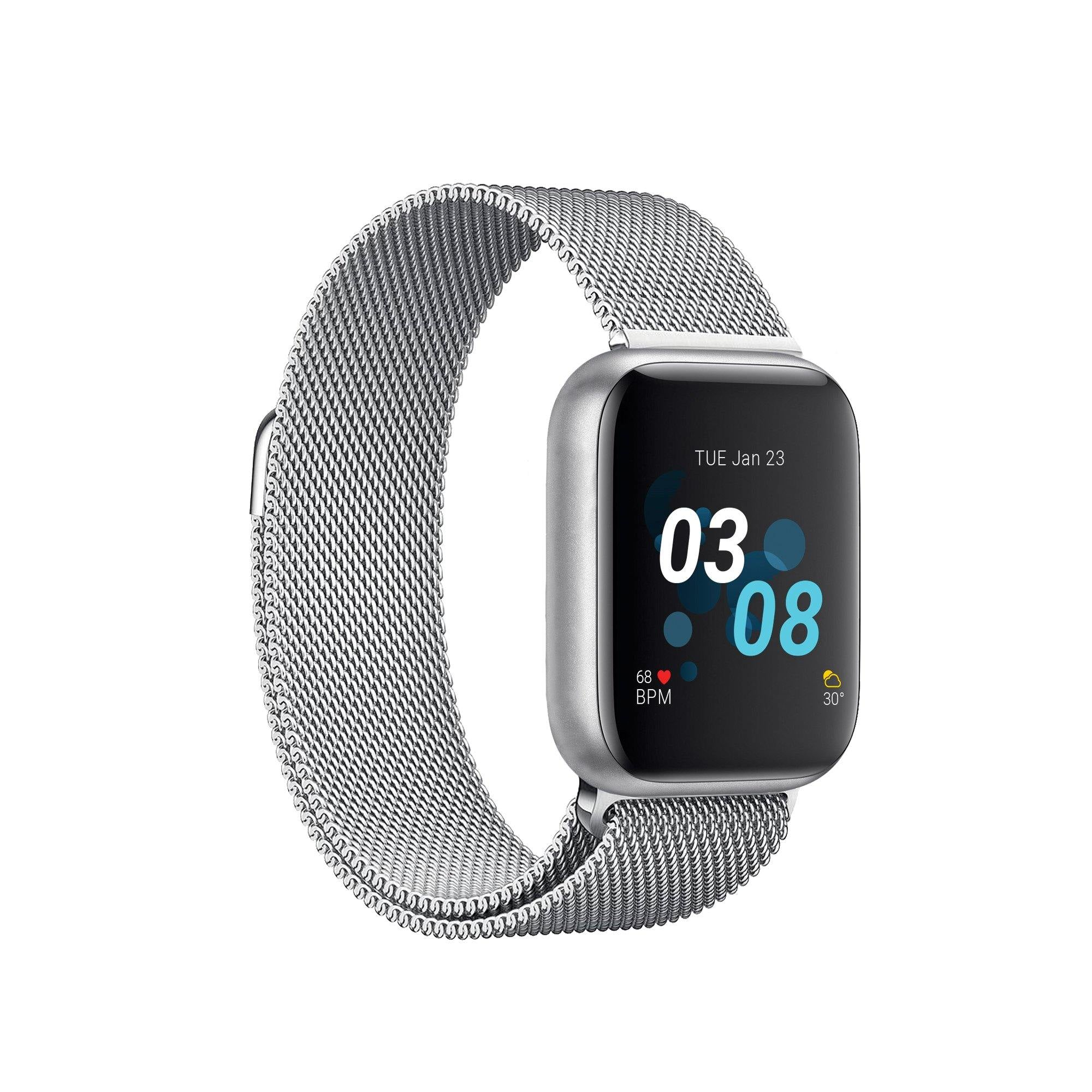 iTouch Air 3 Smartwatch: Silver Case with Silver Mesh Strap