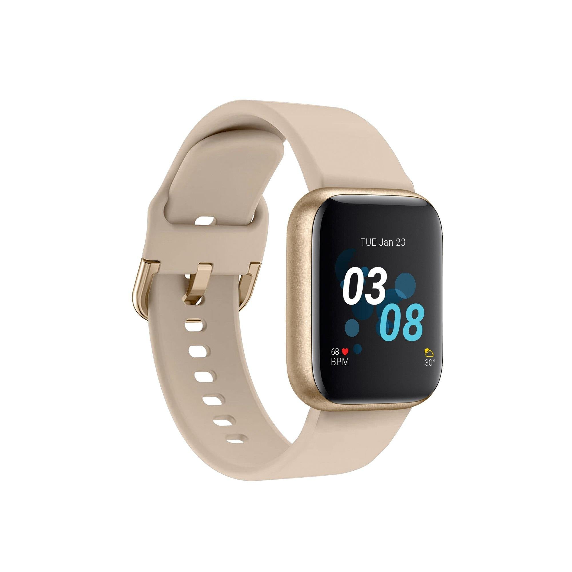 iTouch Air 3 Smartwatch: Gold Case with Beige Strap