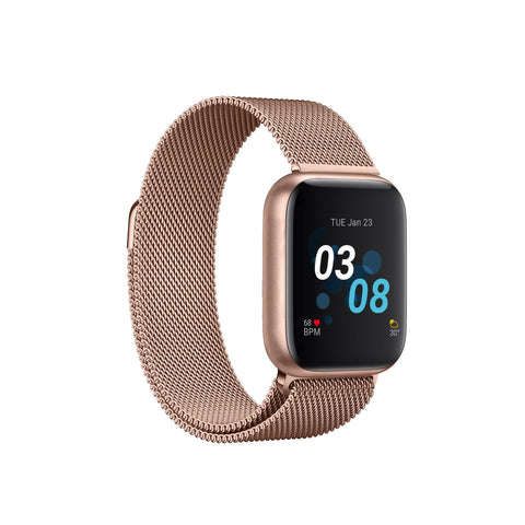 iTouch Air 3 Smartwatch: Rose Gold Case with Rose Gold Mesh Strap